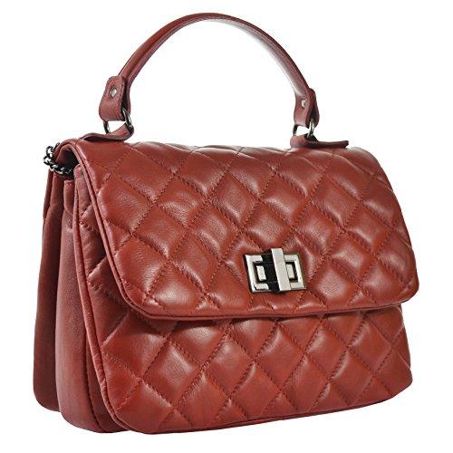 CTM Élégant sac à main de la femme dans une véritable cuir matelassé made in Italy 28x20x15 Cm