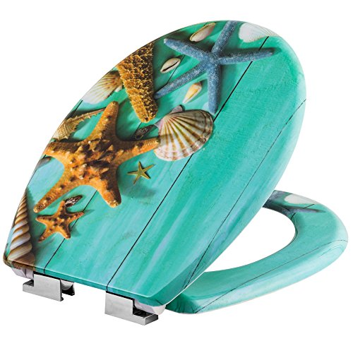 tectake Abattant WC Frein de Chute Soft Close Siège de Toilette Cuvette Siège Lunette - diverses modèles - (étoile de mer | no. 402263)