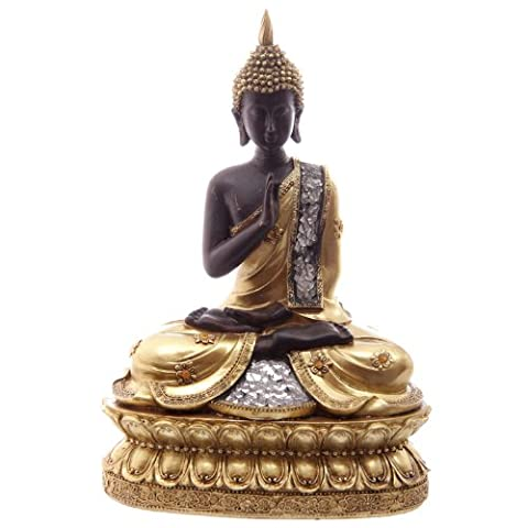 Stunning Meditating Thai Buddha with Glass Mosaic Ornament Figure Statue (23cm High)