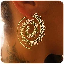 Pendientes de oro, Vintage Bohemian espiral corazón aleación Dangle encanto joyas únicas (Oro)