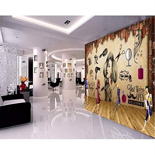 lsweia Fondo Mural Pared Grande Pintura Salón Pelo Salón De Belleza Pared De Fondo Peluquería Nostálgico Papel Tapiz 3D