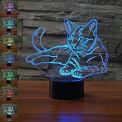 Pet Cat 3D Lampada Illusion Optical Night Light, Jawell 7 Cambia colore Touch Switch Table Desk Lampade Decorazione Perfect Christmas Gift con acrilico Flat & Base ABS e cavo USB Creative Toy