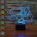Haustier Katze 3D Lampe optische Illusion Nachtlicht, Jawell 7 Farbwechsel Touch Switch Tisch Schreibtisch Dekoration Lampen perfekte Weihnachtsgeschenk mit Acryl Flat & ABS Base & USB Kabel kreatives Spielzeug