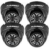 """FLOUREON Lot de 4 Caméras de Sécurité 1/3 """" 900TVL Étanches IP65 Antivandalismes CCTV DVR Dôme Vision Nocturne"""