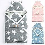 Chennie Baby Wickeldecke für Neugeborene, Kint-Winter-Pucksack mit Knöpfen, Blau mit Kapuze, für Kinderwagen und Kinderbett, für 0-24 Monate