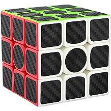 Aiduy 3x3x3 Cubos de Rubik Etiqueta de fibra de carbono para rompecabezas mágicos suaves de cubo