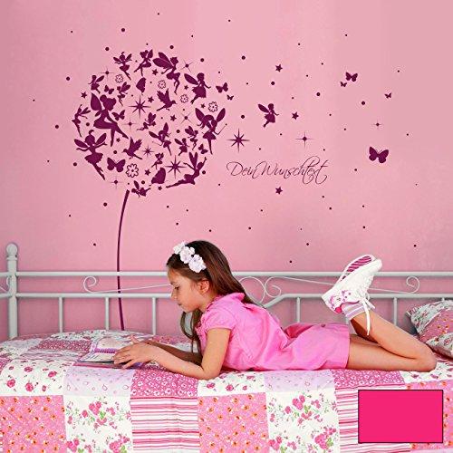 ilka parey wandtattoo-welt® Wandtattoo Wandaufkleber Wandsticker Aufkleber Sticker Pusteblume mit Elfen Feen Schmetterlingen Blumen Punkten Sternen und Wunschtext M2056 - ausgewählte Farbe: *pink* ausgewählte Größe: *M - 126cm breit x 120cm hoch*