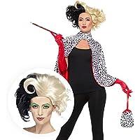 638cea52ae45 Fancy Dress VIP Deluxe Cruella Evil Madame Dalmatian Spot Costume with Wig  Gloves Cape Bag and