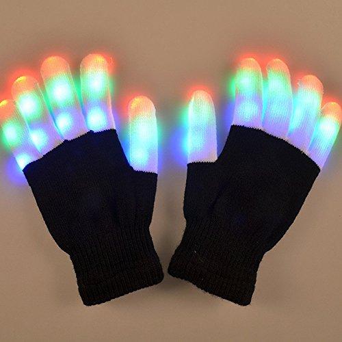 LED leuchtende Handschuhe,SOLMORE 6 Modus Coole Spielzeuge Gloves Tanzen blinkende Bunte Finger Weihnachtskostüm Kostüm Beleuchtung Geschenk für Mädchen Kinder Junge Halloween Club Weihnachten Geburtstag Show Ostern Disco Party Kinder Unisex (Light Up Rave Handschuhe)