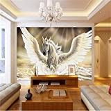 Wolipos 3D Wandmalerei Wand-Aufkleber Tapete Benutzerdefinierte Foto Fliegen Pferd Ölgemälde Tv Sofa Ktv Hotel Kinder Hd Dekoration 300Cmx250Cm