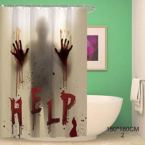 Gakoz Halloween Duschvorhang Polyester Fenster Vorhänge mit Blutige Hände für Halloween Badezimmer - 2, 180cmx180cm