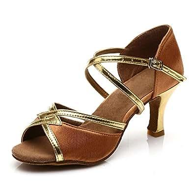 """JINFENGKAI Women's Latin Salsa Dance Shoes Style 225,Brown,2UK/34EU,Heel2.5"""""""