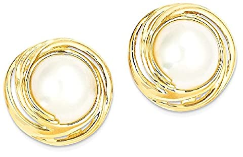 IceCarats 14k Yellow Gold Mabe Cultured Pearl Post Stud Ball Button Earrings