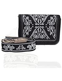 Women's Casual Embroidery Black Fabric Sling Bag