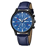 Uhren für Männer Wasserdicht Männer Edelstahl Business Armbanduhr Mann Runde Uhr Luxus Herren Quarz Leder uhrengurt Analog Slim Dial Casual Armbanduhren (blau)