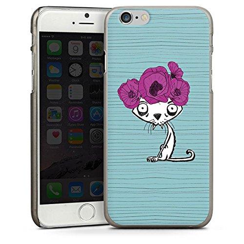 Apple iPhone 6 Housse Étui Silicone Coque Protection Chat moche et fashion Chat Fleurs CasDur anthracite clair