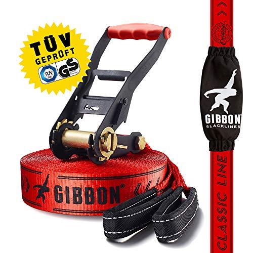 Gibbon Slacklines Classic Line, Rot, 15 Meter (12,5m Band + 2,5m Ratschenband), für Anfänger und Einsteiger, inklusive Ratsch...