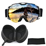 iTavah OTG Skibrille mit Etui, Snowmobile Snowboard Skibrille für Herren Damen & Jugend Snow Outdoor Sports, 100% UV-Schutz, Anti-Fog, Over the Glasses (Matteblack)