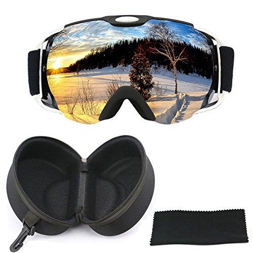 Jugend-snowboard-paket (OTG Skibrille mit Etui, iTavah Snowmobile Snowboard Skibrille für Herren Damen & Jugend Snow Outdoor Sports, 100% UV-Schutz, Anti-Fog, Over the Glasses (Matteblack))