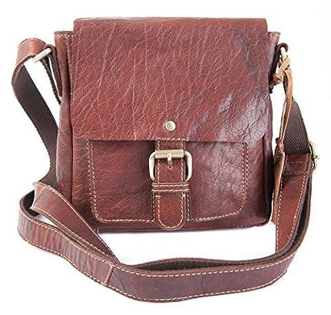 ROWALLAN Small Tan Leather Crossbody Flap Messenger Handbag 6468 /18 BNWT