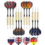 Steel darts set - Dartpfeile Set - 12 Stahlspitzen 18g Dartpfeile mit Aluminium Schäfte Und Rutschfester Messing, 24 Flights, Schärfer werden im Samt-Etui verpackt mitgeliefert
