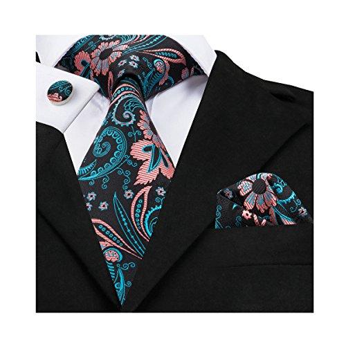 Barry.Wang - Corbata - para hombre Turquesa Turquoise Flower Talla única