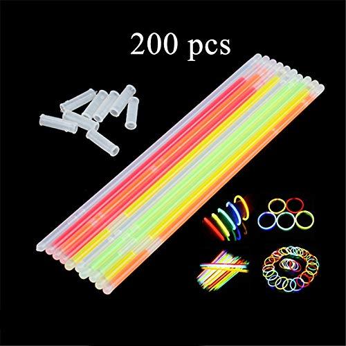 XINXUN 200 Stück Knicklichter mit Verbindungsstücken Light Sticks Armband Glühende Bänder in gemischten Farben für Tanz- oder Partyfüller