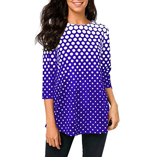 Bluse Mode Damen Herbst Casual O-Ausschnitt T-Shirt Tops 3/4 Ärmel Polka Dot Gedruckt Bluse Damen Beiläufig Langarmshirt Lose Hemd Übergröße Tunika - Ärmel Gedruckt Tunika