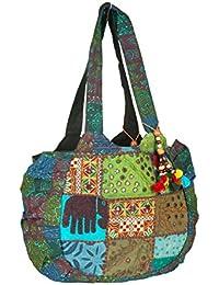 e241188c8 Tribe Azure Floral Bordado Bolso De Hombro Azul Boho Gypsy Hippy Algodón  Ligero Espacioso Lindo Colorido