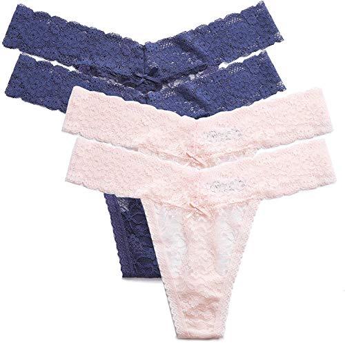 MOONIGHT 4er Pack Damen Baumwolle Dessous Unterwäsche Packung Wäsche Unterkleidung- Gr. EU 33-36 / S, Farbe2(blue/Apricot)