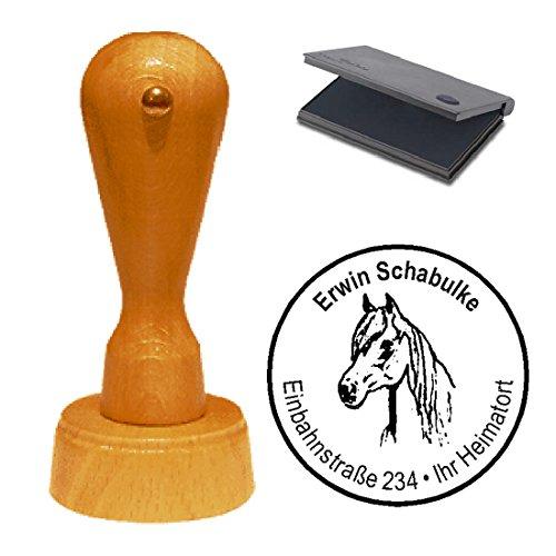 Stempel mit Kissen « PFERD 01 » Durchmesser ca. Ø 40 mm - mit persönlicher Adresse und Motiv - Adressenstempel Firmenstempel Motivstempel - Reiter Reiterhof