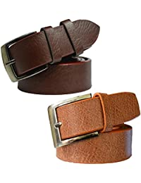 Sunshopping men's Synthetic leather brown and tan needle pin point buckle belts combo (SUROO)