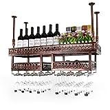 ZYM Weinregale Decke Hängen Weinregal Metall Eisen Lagerregal Bar Hause Decke Wandbehang Weinglas Becher Weinflasche Rack tassenhalter (Farbe : Bronze, größe : 100×31cm)