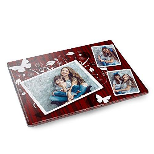Personello® Glas-Schneidebrett mit Wunsch-Fotos selbst gestalten, inkl. Rutsch-Stopp, Geschenke für Köche, ausgefallenes Fotogeschenk