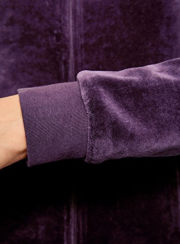 oodji Ultra Damen Kapuzenpullover mit Reißverschluss Violett (8801N)