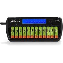 Cargador de Pilas Recargables,Flepow 12 Bay/Slot del Tipo AA / AAA para Ni-MH Ni-Cd,Cargador de Batería con 12 ranuras LCD,Cargador Rápido Inteligente para Pilas(No Incluye Pilas)