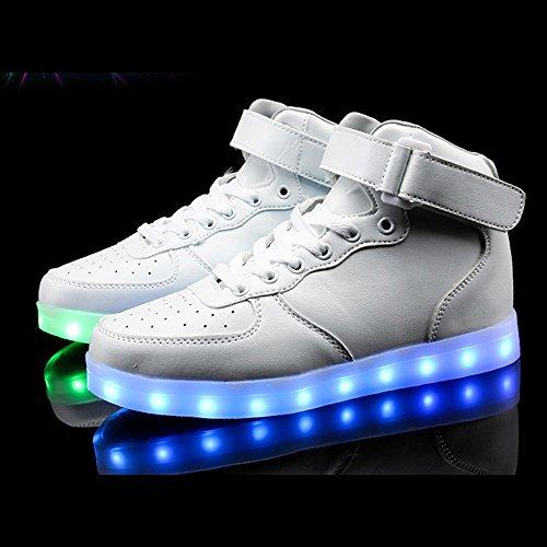 Eastlion USB Lade LED Sport Schuhe Lumineszierende Ghost Dance Schuhe Bunte fluoreszierende Schuhe Weiß