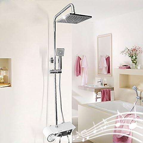 Bagno quadrato di rame può sollevare la magia del suono di musica Bluetooth doccia a pioggia colonna per doccia