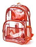 H HIKKER-LINK Transparenter Rucksack PVC Transparent Casual Daypack Stadium Rucksack, Orange (Orange) - HL0119