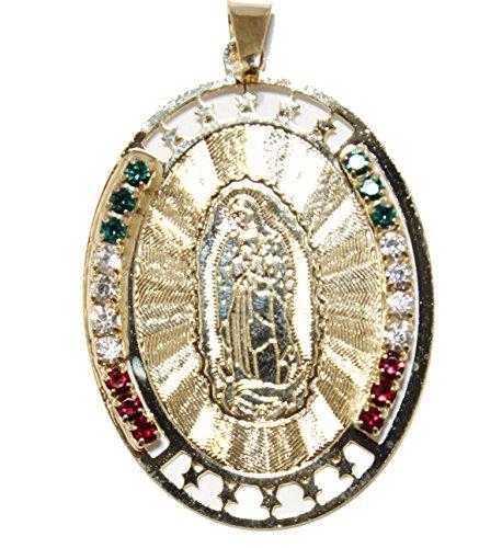Diamantados of Florida Virgen de Guadalupe Medalla con México Bandera Colores 18K Chapado en Oro Medalla enchapada Colgante con Cadena