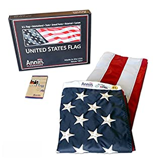 Annin Flagmakers American Flag 3x5 ft. Nylon SolarGuard Nyl-Glo, 100% Made in USA with Sewn Stripes, Embroidered Stars and Brass Grommets.  Model 2460