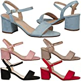 Feet First Fashion Aaliyah Ladies Ankle Strap Low Block Heel Faux Suede Sandals