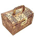 #6: Pride Faux Leather Golden Wood Hard Sided Luggage Cosmetic Cases