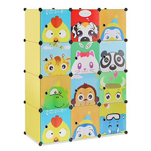 BAMNY Kinderzimmer Kleiderschrank, Aufbewahrungsregal für Kleidungen Schuhe Spielzeuge, DIY Steckschrank mit 2 Kleiderstangen und Tieren Motiven(Gelb)