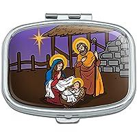 Krippe Baby Jesus Mary Joseph Weihnachten christlichen Bibel Rechteck Pille Fall Schmuckkästchen Geschenk-Box preisvergleich bei billige-tabletten.eu