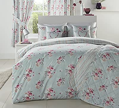 Dreams N Drapes 'Penelope' Floral Bouquets on Stone Ground and Vertically Striped Reverse Duvet Cover Set, Single, Coral