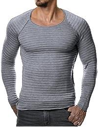 Camiseta Manga Larga para Hombre,Otoño Invierno Casual O-Neck Slim Suéter Tops Blusa