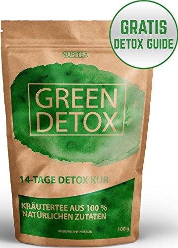GREEN DETOX TEE - 14 Tage Detox Kur - Entschlackungstee - 100% natürliche Kräuterteemischung - Grüner Tee, Lemongras, Mate, Brennnessel, Ingwer & Gojibeeren - Gratis Detox Guide