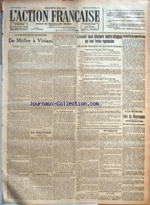 ACTION FRANCAISE (L') [No 269] du 26/09/1918 - LA CESSION DES DIX KILOMETRES - DE MULLER A VIVIANI PAR LEON DAUDET - LA POLITIQUE - I. L'HEURE DU MONDE - II. LA DIFFICULTE ECONOMIQUE - III. LA NECESSITE SOCIALE - IV. LA FRATERNITE DE LA GUERRE - V. LA LOGOMACHIE DE PRINCIPES PAR CHARLES MAURRAS - L'ENNEMI LANCE PLUSIEURS CONTRE-ATTAQUES QUI SONT TOUTES REPOUSSEES - LES ALLIES REALISENT DE NOUVEAUX PROGRES - COMMUNIQUES FRANCAIS - COMMUNIQUES BRITANNIQUES - ECHOS - LIGUE DE GUERRE D'APPUI ET DE par Collectif