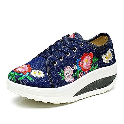 Frauen / Damen-Plattform-Schuhe Sommer-Segeltuch-Luft-Kissen-high-heeled Schuhe Weinlese-Art und Weise Breathable und leicht , blue ,